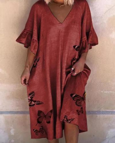 Casual Animal Tunic V-Neckline A-line Dress
