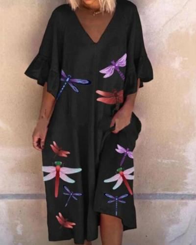 Dragonfly Print Lotus Leaf Sleeve Mini Dress