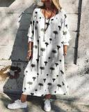 Plant Print Mid Sleeved Maxi Dress