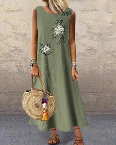 Plus Size Casual Floral Tunic Round Neckline A-line Dress