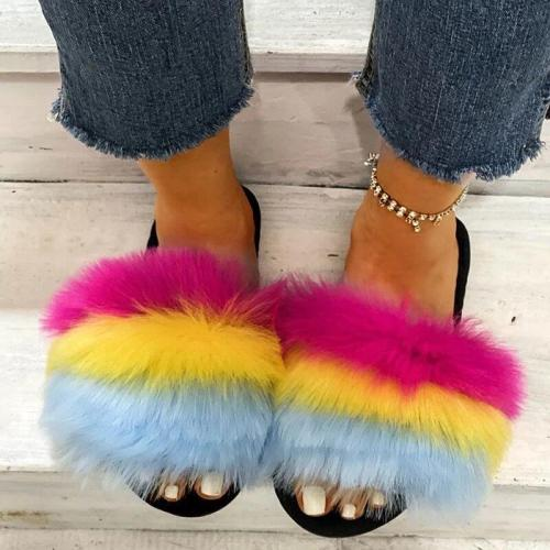 Women Casual Fluffy Fur Multicolor Rainbow Slip On Flat Heel Slippers