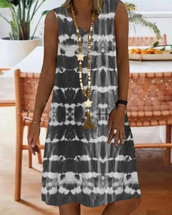 Women Casual Color Block Tunic V-Neckline Shift Dress