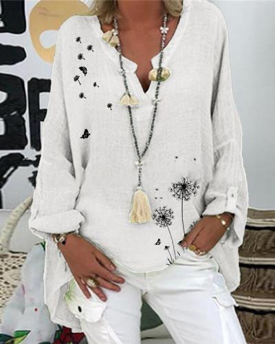 Dandelion Printed Casual V-Neckline Long Sleeve Blouses
