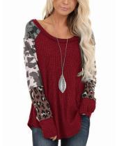 Leopard Patchwork Long Sleeve Scoop Neck Top Sweatshirt