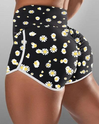 Daisy Print High-waist Hip-wrapped Running Shorts
