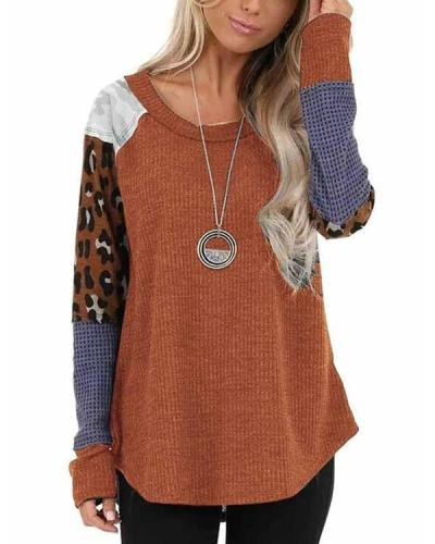 Leopard Patchwork Long Sleeve Scoop Neck Top Sweatshirt