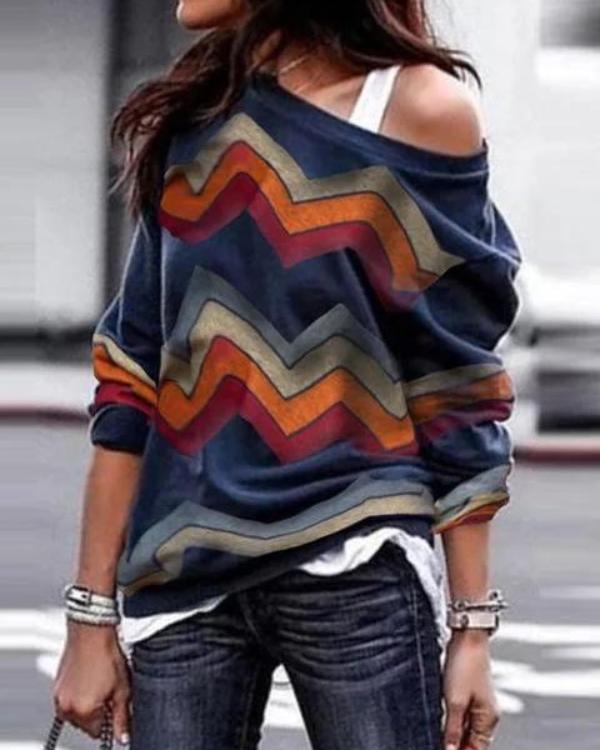 Vintage One Shoulder Long Sleeve Cotton T-Shirts