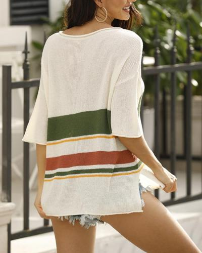 Flodress Striped Knitting Flimsy Top