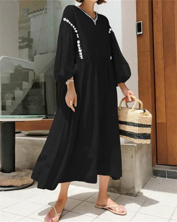 Vintage Casual Solid V Neck Woman Loose Maxi Dresses