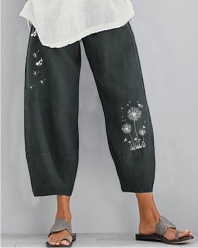 Women Linen Shift Casual Floral Pants