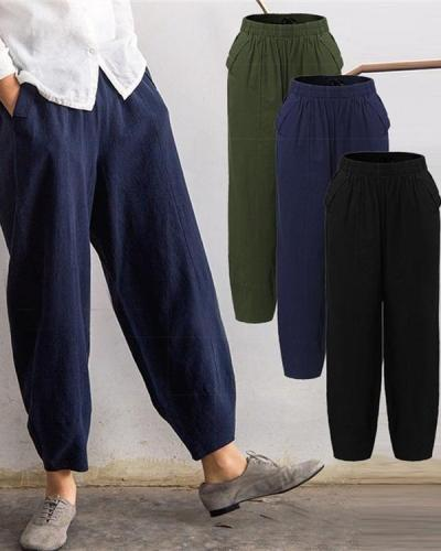 Solid Casual Pocket Elastic High Waist Harem Pants