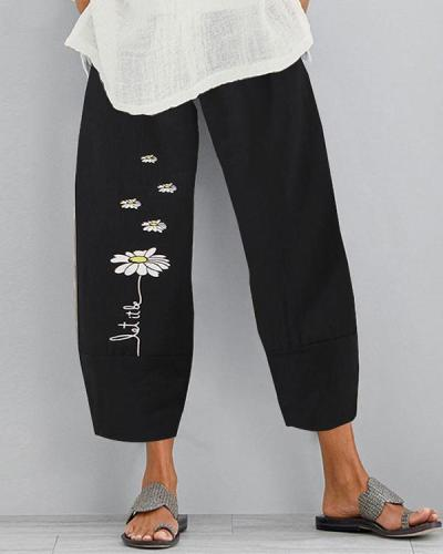 Vintage Daisy Printed Plus Size Women Casual Pants