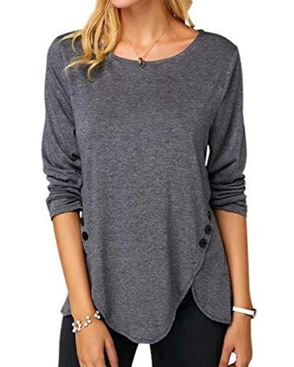 Women Long Sleeve Round Neck Solid Sweater Tops