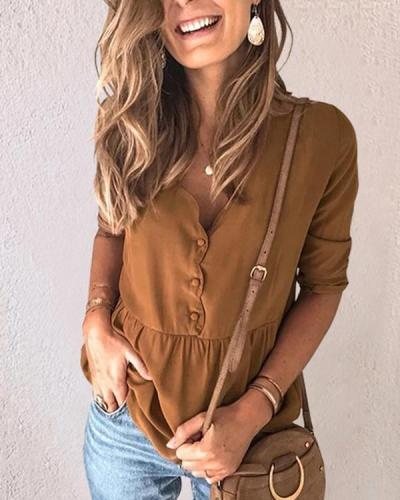 Casual V Neck Pullover Button Blouses