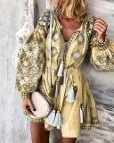 Plus Size Skater Floral V-Neckline Casual Tassel Plus Dress