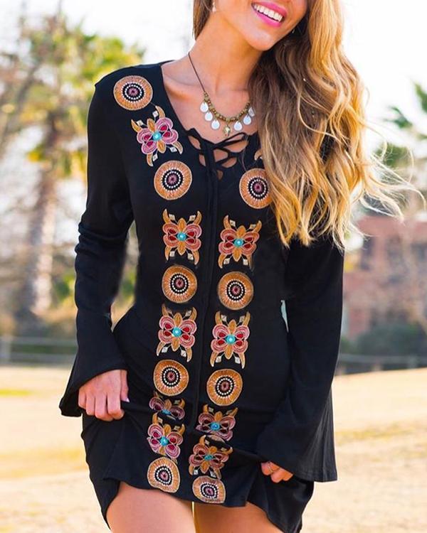 Vintage Boho Geometric Floral Plus Size Long Sleeve V Neck Casual Dresses