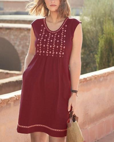 Casual Embroidered Sleeveless Dresses