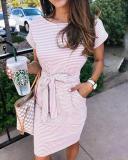 Short Sleeve Pinstripe Round Neck Casual Wear Dress