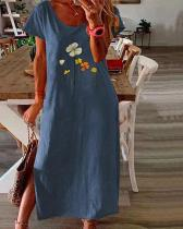 Tunic Floral Round Neckline Casual Midi Plus Dress
