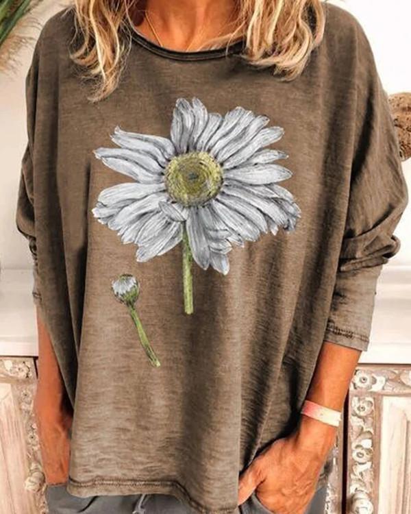 Sunflower Print Crew Neck Polyester Long Sleeve T-Shirts