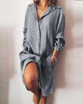 Casual V Neck Long Sleeve Solid Buttons Dresses