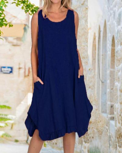 Linen Maxi Dress With Frill Bottom/ Pockets Dresses