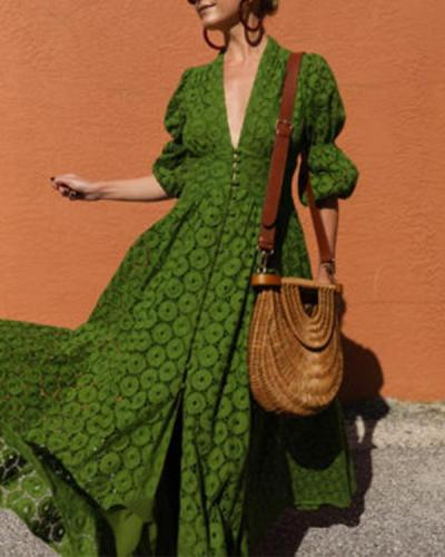 Solid Color Lace 3/4 Sleeve Deep V Maxi Dress For Women