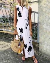Casual Floral V-Neckline Maxi Vintage Dress