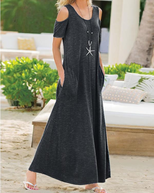 Solid Shoulder Sleeve Casual Maxi Dresses