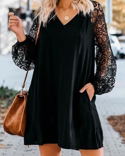 Black Long Sleeve Lace V-Neck Dress