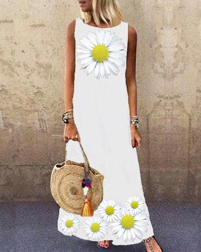 Sleeveless Daisy Print Crew Neck Holiday Maxi Dress