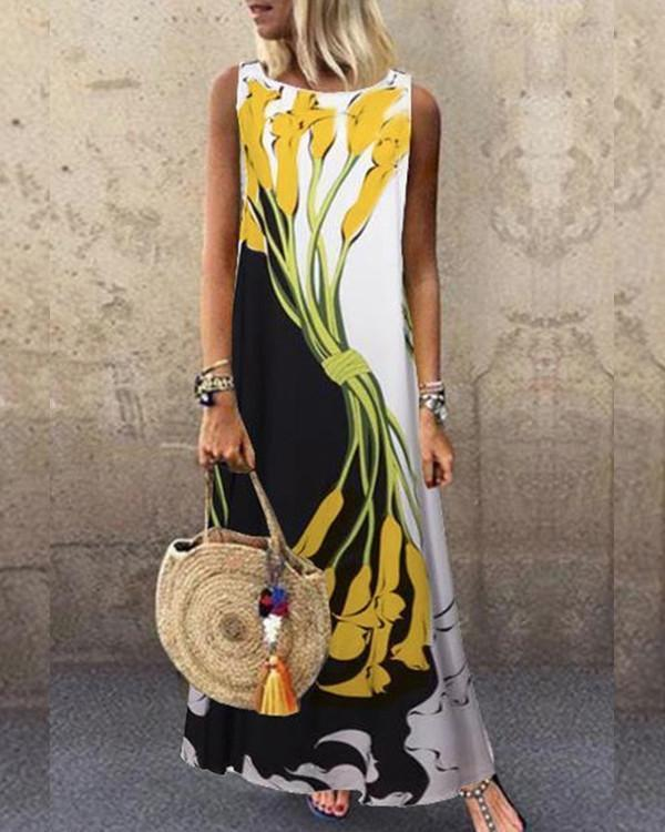 Sleeveless Color-block Floral Print Holiday Maxi Dress