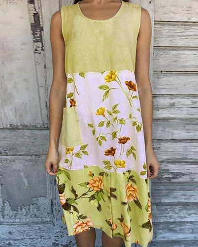 Color-block Floral Print Sleeveless Paneled Vintage Midi Dress