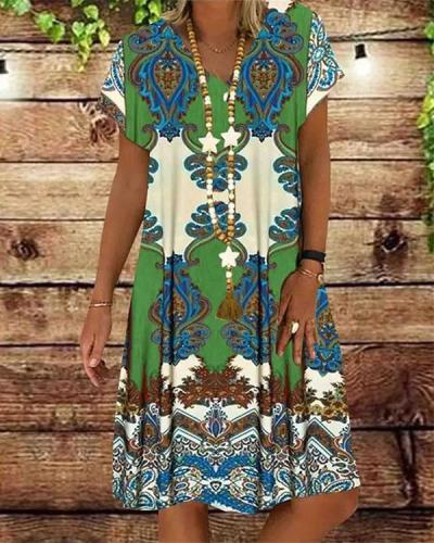 Casual V Neck Printed Women Dresses