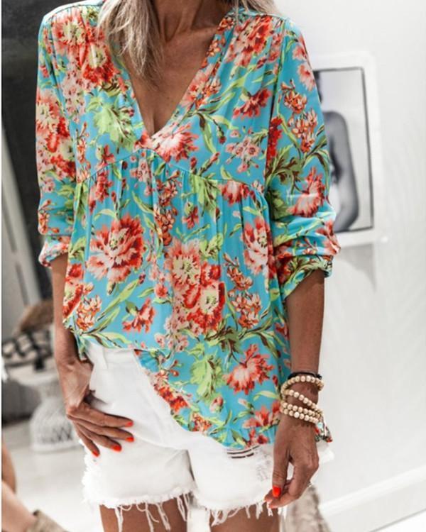 Long Sleeve Polyester V-Neck Floral Print Blouses