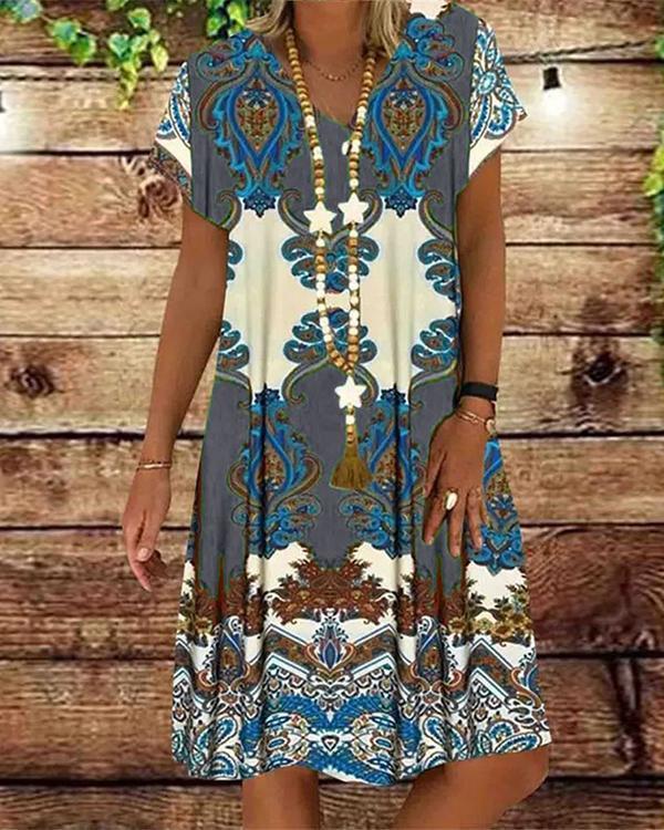 Casual V Neck Printed Women Dresses