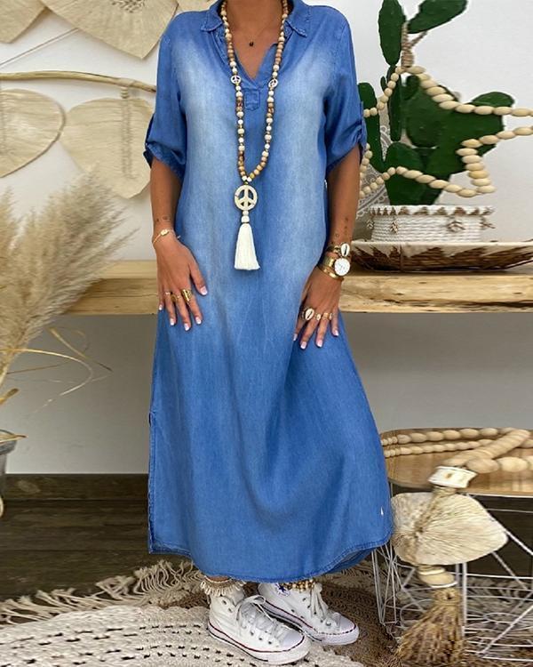 Women's Half Sleeve Denim Maxi Dress