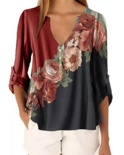 Floral V-Neckline Casual Shift Blouses Long Sleeve Plus Blouses