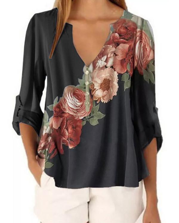 Floral V-Neckline Casual Shift Blouses Long Sleeve Plus Blouses