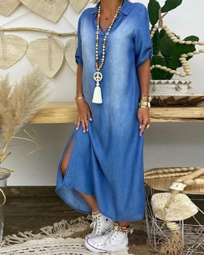 Women's Half Sleeve Denim Maxi Dress
