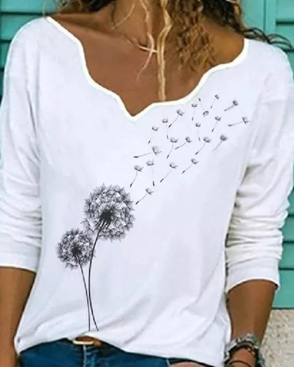 Floral Casual V-Neckline Long Sleeve Blouses
