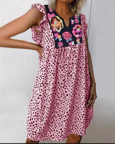 Cow Printed Splicing Floral Ruffled Casual Dress