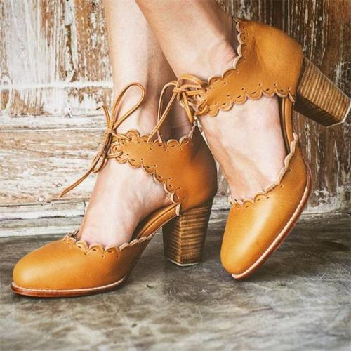 Vintage Round Head Hollow Chunky Sandals