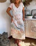 Printed Hanging Band Loose Casual Tie-dye Dress