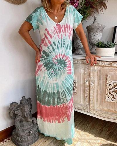 Printed Hanging Band Loose Casual Tie-dye Dress