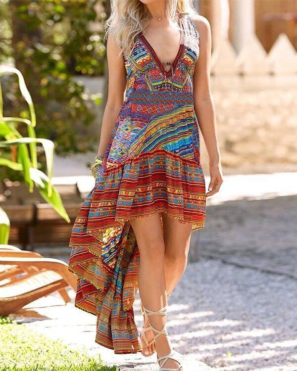 Vintage Sleeveless Boho Floral Geometric V Neck Plus Size Casual Dresses