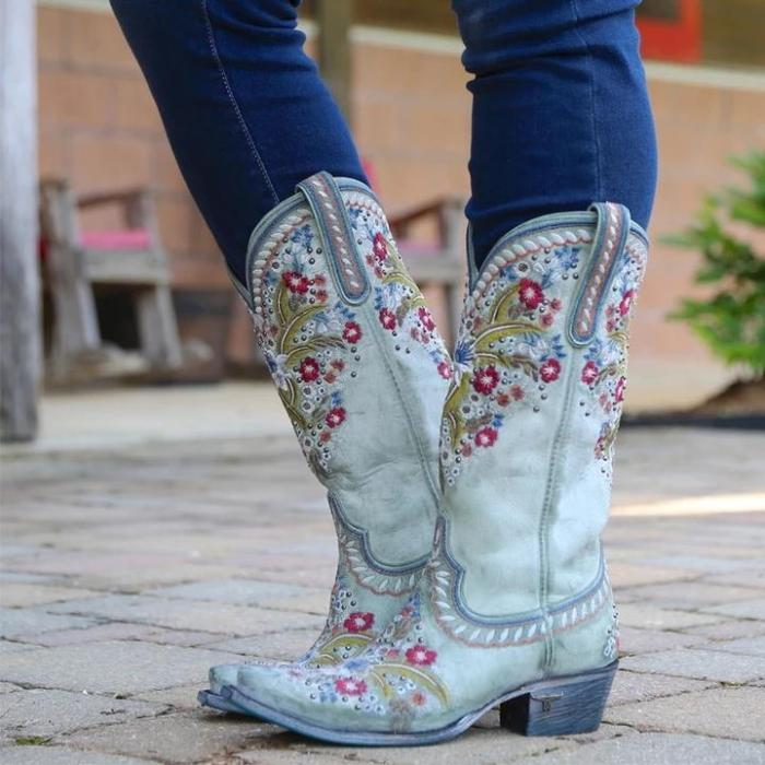 Chunky Heel Embroidered Rivets Mid-Tube Martin Boots