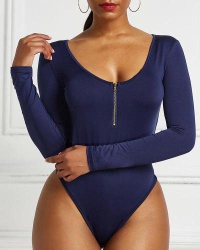 Plus Size Sexy Zip V Neck Romper Long Sleeve Bodysuit