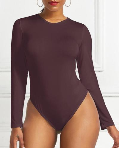 Women's Round Neck Long Sleeve Casual Bodysuit 7 Colors