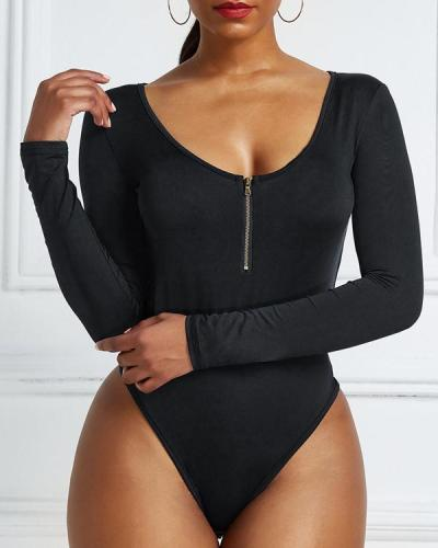 Plus Size Sexy Zip V Neck Romper Long Sleeve Bodysuit